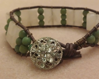 Single Wrap Brown Leather Bracelet with White Onyx and Green Catseye