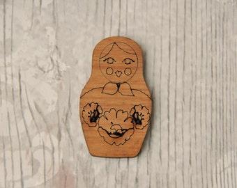 Cute Russian Doll Wooden Brooch