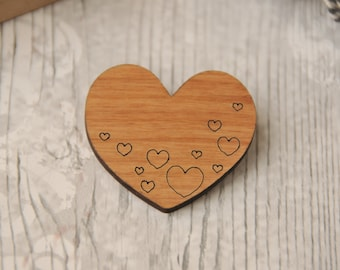 Filled with Love Wooden Brooch