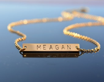 Name Bar Necklace, Initial Bar Necklace, Name Necklace, Personalized Necklace, Gold Bar Necklace, Bridesmaid Gift, Monogram Necklace