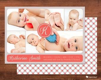Modern Layout Birth Announcement Card - modern, monogram, clean, geometric, photos, album, baby, birth, newborn, template, dots