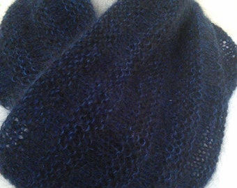 Hand Knit Silk Mohair Welted Cowl/Infinity Scarf
