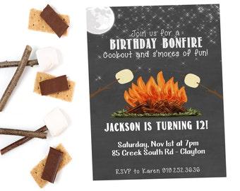 Bonfire Birthday Invitation,  S'mores Birthday,  Bonfire Birthday,  Camping Birthday Party Invitation,  Birthday Party,  Bonfire Party