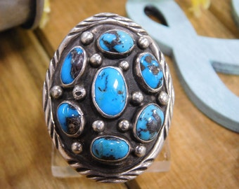 Large Cluster  Turquoise Sterling Silver Ring