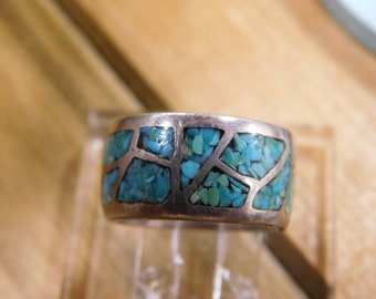 Vintage Sterling Silver Turquoise Chip Inlay Band Ring Size 4 3/4