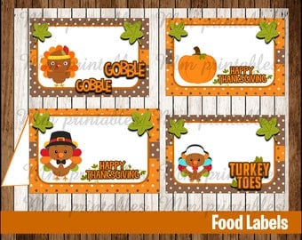 80% OFF SALE Thanksgiving Food Tent Cards instant download, Printable Thanksgiving Food Labels, Turkey Party Table Label