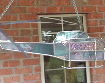 Stained Glass Vietnam UH-1 Huey Helicopter Suncatcher