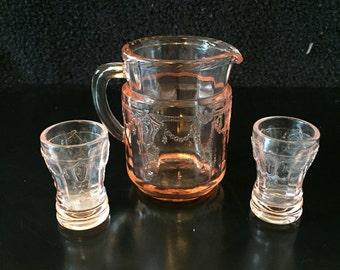 Vintage Mosser Glass Jennifer Miniatures Pink Set #11 Pitcher and 2 Tumblers