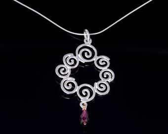 sterling silver necklace,silver spiral garnet pendant,drop garnet necklace,spiral silver necklace,silver pendant,garnet necklace