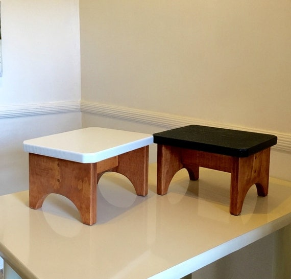 Handmade Wooden Step Stool Meditation Stool Bench White And