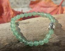 Bracelet, green aventurine beads 6mm, cat charm, Buddha, yoga, zen, tailored, elastic, hand made