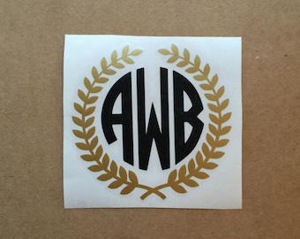 Laurel Wreath Monogram Decal