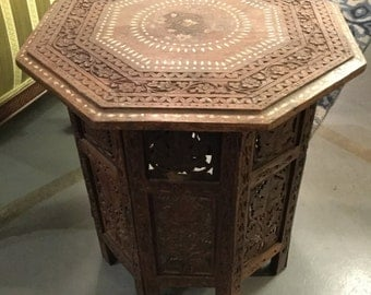 Hand-Carved Morrocan Solid Teakwood Octagonal Table