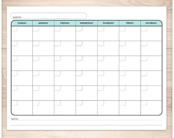 Printable Blank Teal Calendar - Monthly Full Pages PDF - Teal colored days of the week - Instant Download