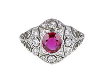 Art Deco Platinum Ruby and Diamond Ring