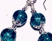 Blue Crackle Glass beaded earrings with Filigree caps