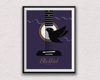 the beatles print, Blackbird, song lyrics, love, wall art, lyric art, home decor, lyric artwork