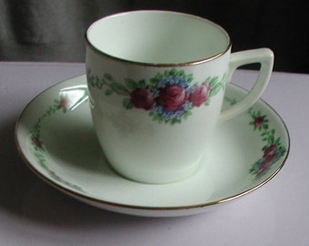 "Vintage Paladin China ""Roses"" Coffee Cup and Saucer"