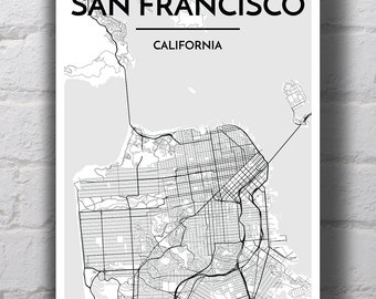 Black & White San Francisco City Map Print