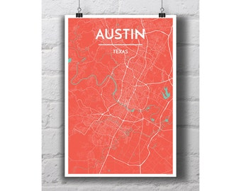 Austin, Texas - City Map Print