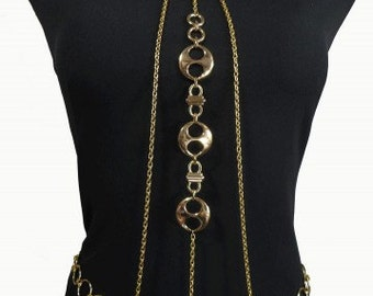 Gold Plated Jewelry Belt Set With Body Jewelry Chain And 2 Body Chains