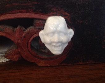 Japanese Porcelain Noh Mask Button. Marukin. Vintage.