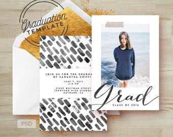 Black & White Graduation Invitation Template - Printable Grad Announcement Card - Photoshop Template - Photo Marketing Template