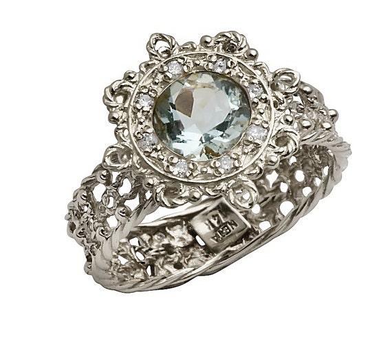 Art Nouveau Antique Style 18K Gold Engagement Ring Blue Topaz
