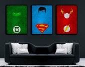 Superhero Poster Set, Minimalist Poster, Superman poster, Superman Minimalist Poster, Flash, Green lantern