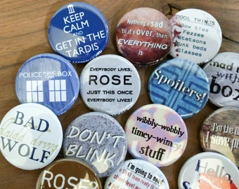 """Doctor Who magnets 1.25"""" / 32mm fridge magnets: Don't Blink, Police Box, Spoilers, Come along Pond, Bad Wolf, Allons-y, Geronimo!"""