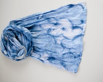 Hand painted linen ring sling, Indigo cloud ring sling baby carrier, 100% linen blue cloud ring sling