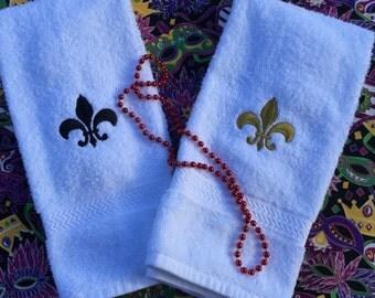 Fleur de Lis Hand Towel, Embroidered Towel
