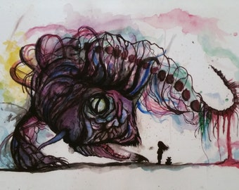 Water color and Ink Fish print