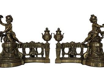 French Antique Cherub Chenets, French Andirons, Antique French Andirons, Andirons