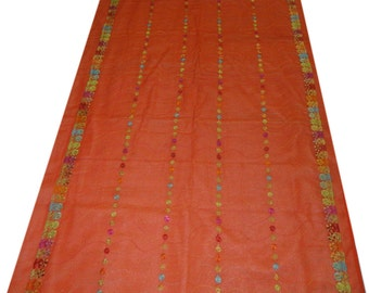 Vintage Orange Georgette Dupatta Wrap Dress Embroidered Scarf Hijab Indian Recycled Fabric Decor Long Veil Stole Used Scarves SD1931