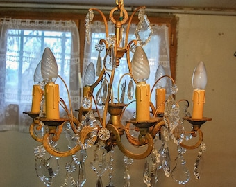 Antique French Bronze Chandelier with Crystals.