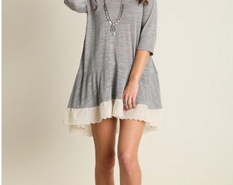 Women's 3/4 Sleeved Basic Tunic Dress With Lace - Summer Clothing - Women's Clothing