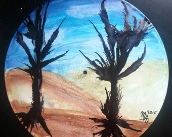 "Alcohol ink landscape on 12"" vinyl record"