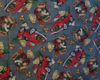 Christmas Fabric/Teddy Toss Trucks/Teddy Bear/Trucks/Cotton/BTY
