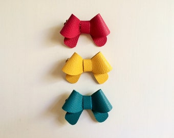 """Set of three: Raspberry pink, lemon yellow and turquoise blue leather """"Helen"""" bows - small - headband - alligator clip"""