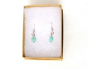 Aqua Dangle Pierced Earrings