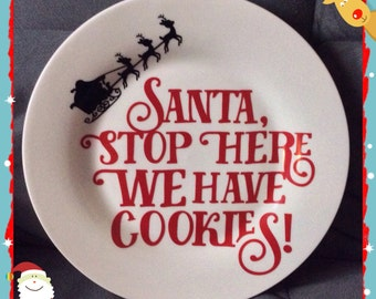 Santa cookies plate ( ceramic ) Cookies for Santa plate