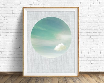 "cloud print, cloud art, large art, large wall art, instant download printable art, digital download, wall art, prints, art - ""Pastel Skies"""