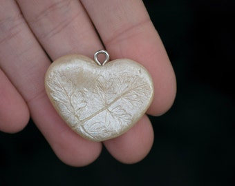 Rustic Champagne Leaf Imprint Heart Pendant