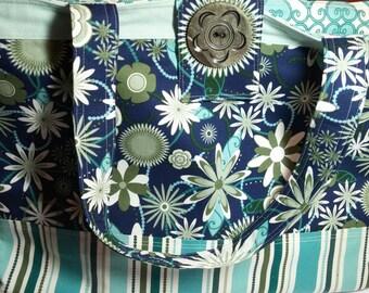 Flowers and Stripes Green Blue Womens Handbag