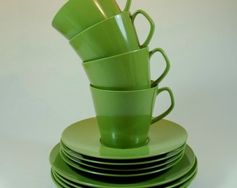 Retro Melaware - Four Cups, Saucers and Side Plates in Avocado, Kitchenalia, Camping, Picnics and Outdoor Living
