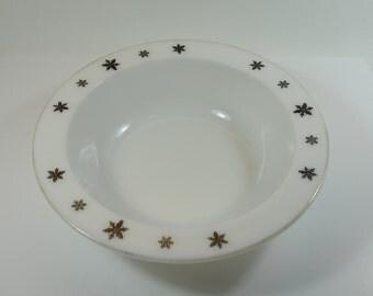 Vintage Crown Pyrex Large Bowl with Gaiety Black Snowflake 1950's, Pyrex Fruit Serving Bowl, Pyrex Serving Dish