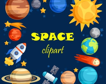 30% OFF AND MORE. Space clipart. Space clip art. Outer space. Outer space clipart. Planet clipart. Rocket clipart.