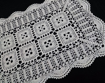 Vintage Lace Rectangular Table Runner. Crocheted Antique Linen White Colour Cotton Lace Table Runner. RBT0217