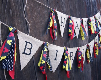 Happy Birthday Banner, Mickey Inspired, First Birthday, Happy Birthday, Burlap Banner, Birthday, Mouse Happy Birthday, Mouse Birthday Banner